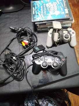 Playstation 2 slim 1 joystick funcionando 7 juegos y memory card