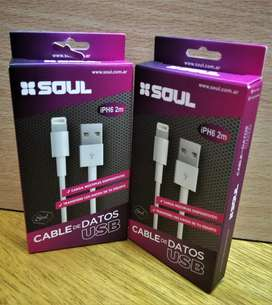 cable para IPHONE para 5 5s Se 6s 6 7 8 Plus X Xr Xs iPad Soul 2 mtrs