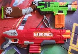 2 Escopetas Nerf zombies y megadouble cañon