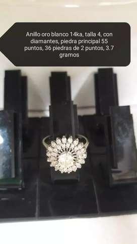 Anillo oro blanco 14k A con diamantes