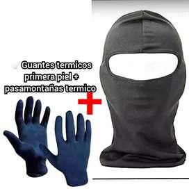 Guantes termicos primera piel + Pasamontañas Balaclava el mismo material q las camisetas termicas