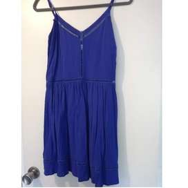 Solero Vestido Corto Fibrana Azul C/ Vainillas talle M USADO