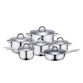 Juego Ollas Zepter 12 Piezasjuego de ollas de 12 piezas  Juego de utensilios de cocina -12pcs -6 tapas en vidrio -6 olla