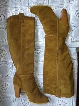 Botas botines cuero gamuza importadas usadas
