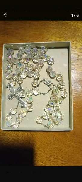 Antiguo rosario de cristal de roca 84cm de largo cerrado