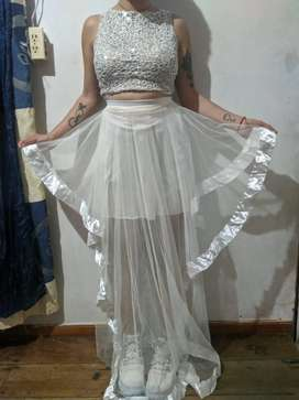 Vestido doble pieza para mujer talla S.