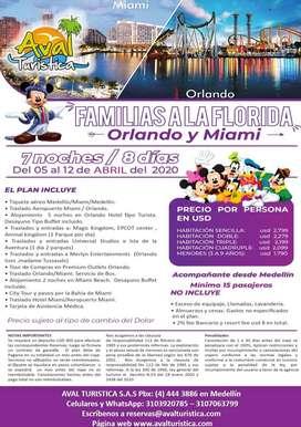 EXCURSION FAMILIAS A LA FLORIDA (ORLADO Y MIAMI) DEL 05 AL 12 ABRIL 2020
