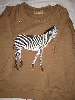 conjunto buzo y pantalon T4  lanilla dibujo cebra