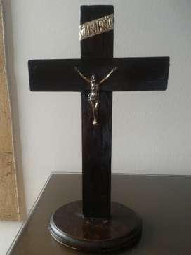 Cristo Madera Antiguo Base Comino 31 Cm.