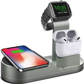Cargador inalámbrico para iWatch compatible con iWatch Series SE 6, 5, 4, 3, 2, 1, AirPods Pro Airpods y Phone Series 12