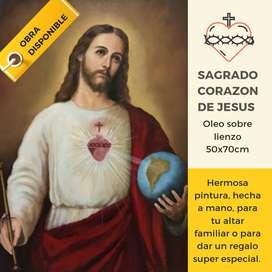 SAGRADO CORAZON DE JESUS, Hermosa Pintura hecha a mano. Cuadro en Oleo sobre lienzo dro