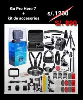 Go Pro hero 7 + maletín de accesorios