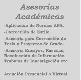 Corrección de Estilo, Aplicación Normas APA, Asesoría Tesis de Grado