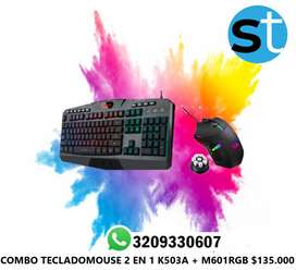 COMBO TECLADO MOUSE 2 EN 1 K503 +M601RGB