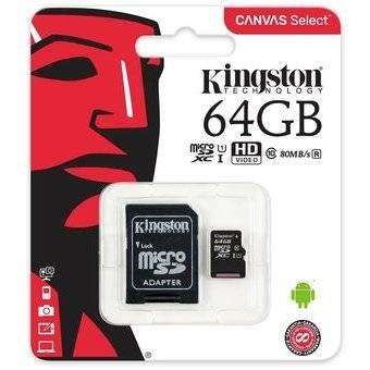 Memoria MICRO SD HC CLASE 10 DE 64GB KINGSTON 80MB/S 0