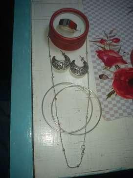 Vendo aros cadena anillo de plata