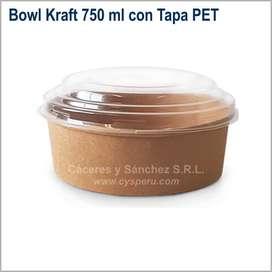 Bowls Kraft Biodegradables 750 y 1300 ml con Tapa PET
