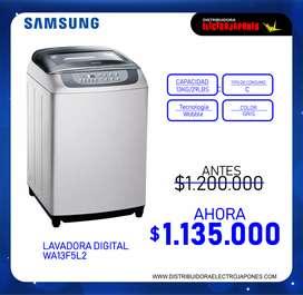 LAVADORA DIGITAL SAMSUNG DE 13 KG WA13F5L2UDY GRIS