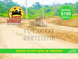 VENTA DE LOTES CAMPESTRES, LOTE DE 1.000M2 A 9.900 USD, CON 100 USD DE ENTRADA, PILE MONTECRISTI, SD1
