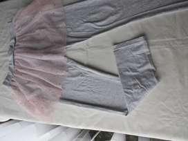 Calza de algodón y lycra con pollera de tul para nena, marca europea!, casi nueva!, impecable!