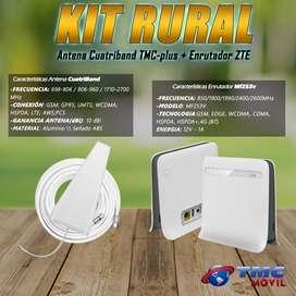 KIT Antena Amplificadora De Señal Zona Rural TMC Plus  Cuatriband 65dB y Enrutador Modem ZTE MF253V