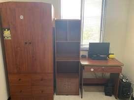 Vendo closet, biblioteca y escritorio.