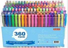 Paquete de 360 bolígrafos de gel de 180 colores distintos, de Shuttle Art, más 180 recambios, perfecto para los libros d