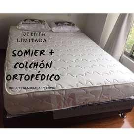 COMBO COLCHON ORTOPEDICO CON SOMIER Y ALMOHADAS envió gratis Doble!