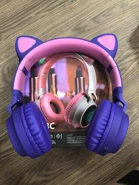 Audífonos diadema Bluetooth de orejas de gato y luces