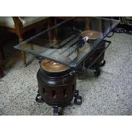 Unica Mesa Artesanal, Ratona, Rustica. Hierro, Madera,vidrio Y Cobre 3.500