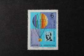 ESTAMPILLA ARGENTINA, 1975, DÍA DE LA FUERZA AÉREA, EDUARDO BRADLEY Y GLOBO, USADA