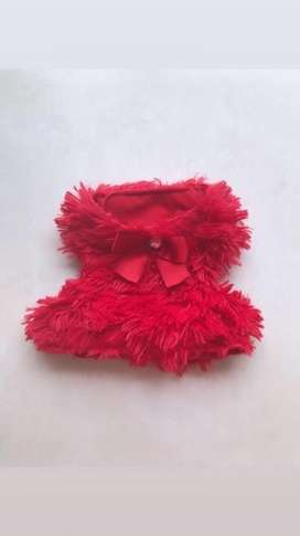 Chaleco Peludo Rojo para Mascotas
