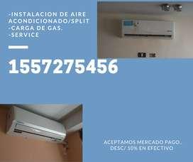 INSTALACION DE AIRE ACONDICIONADO SPLIT, CARGA DE GAS