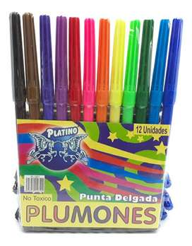Plumones Punta Delgada Platino X12