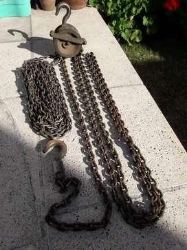 Aparejo / Malacate con metros extras de cadena reforzada