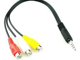 Cable Audio Plug 3.5 Mm Macho A 3 Rca Hembra 15 Cm