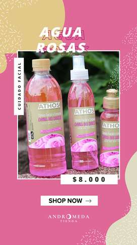 Agua de rosas y fresas
