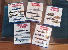 colección 5 libros (submarinos, portaaviones, tanques y aviones)