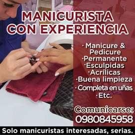 MANICURISTA CON EXPERIENCIA EN ACRILICAS , DISEÑOS ETC..