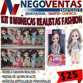 Kit de 8 mini muñecas realistas set fashion