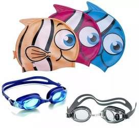 Set Niños Natación Kit Gafas Gorro Silicona