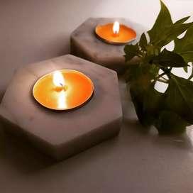 Porta velas de mármol y cerámica