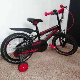 Bicicleta  Shadow Para Niño Rin 16 Con Ruedas Auxiliares