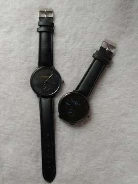 Reloj Negro Correa en Cuero