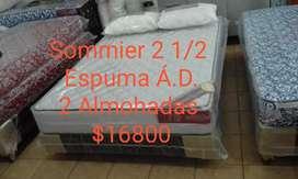 Conjunto sommier base + Colchón alta densidad 190x140x24cm + 2 almohadas Nuevo