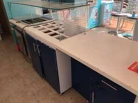 Counter topinera barra de negocios de helados o ensalada de frutas con nevera topinera refrigeración y congelacion