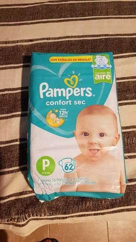Pañales nuevos Pampers baby sec x 62 tamaño P