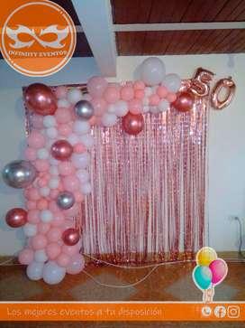 Servicio de decoración a domicilio arco en bombas para grado, cumpleaños, bautizos