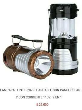 Lampara caperuza linterna bombillo led 2 en 1 recargable inalámbrica con panel solar 110v de para camping acampar carpa