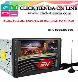 Pantalla para vehiculo Radio  Tv Mirrorlink Blutooth DvD Tactil 7 pulgadas
